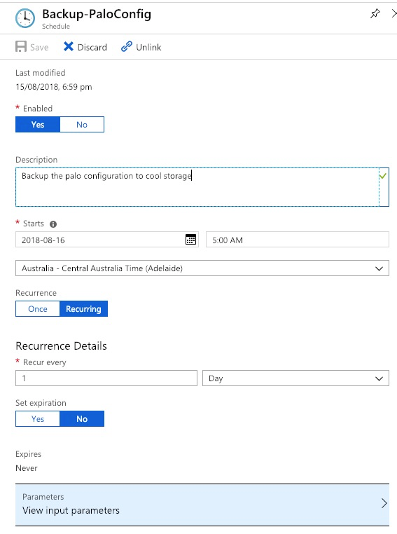 Backup Palo Alto VM Series Config with Azure Automation
